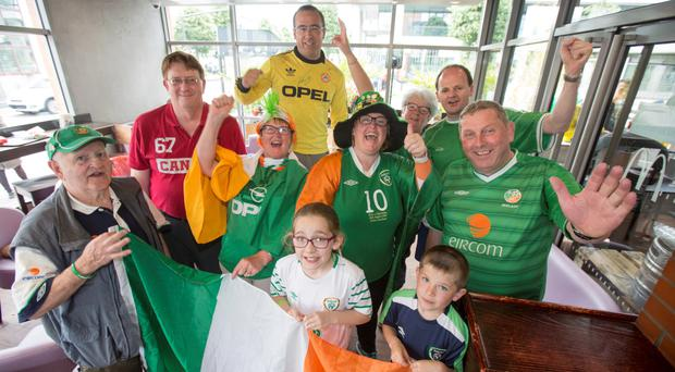 Jim Wallace (in Canadian jersey) with fellow Irish fans