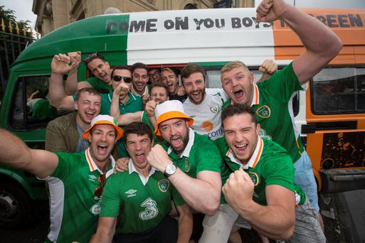 Irish fans from Dublin gather in Bordeaux for Ireland's clash against Belgium