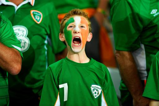 An young Ireland fan shows his support before the clash with Italy (Getty Images)