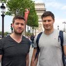 Ciaran Hickey from Dublin and Andrew West from Mayo in Paris yesterday. Photo: Mark Condren