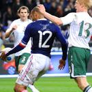 All in hand: Thierry Henry's handball which led to the crucial French goal in 2009. But Irish players and management have all said that today's game should be seen as a chance to make football history — rather than remember it