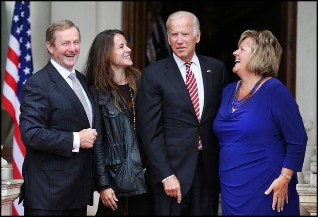 Taoiseach Enda Kenny and wife Fionnuala say farewell to Mr Biden and daughter Ashley. Photo: Steve Humphreys