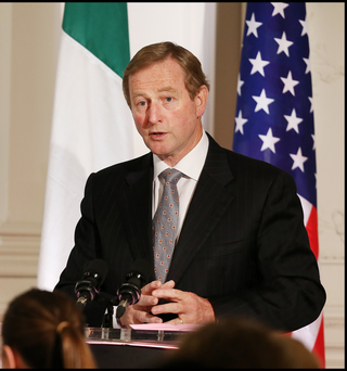 Taoiseach Enda Kenny speaks at a farewell luncheon for US Vice President Joe Biden at Farmleigh House yesterday. Photo: Steve Humphreys