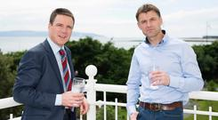General manager Dan Murphy and Garry Walsh, Hodson Bay Group commercial director, at the Galway Bay Hotel. Photo: Andrew Downes