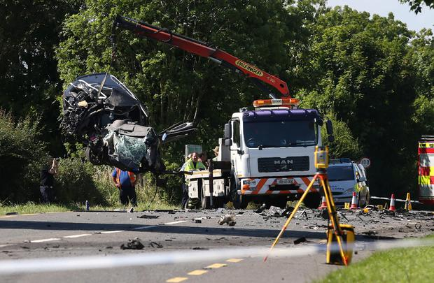 The car is removed from the crash site Picture: Damien Eagers