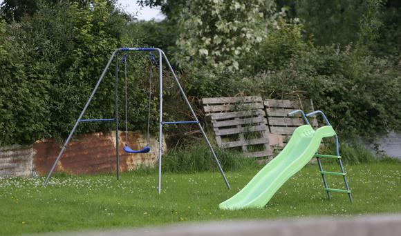 The swings and slide in the back garden of the house in Oola Picture: Damien Eagers