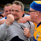 Clare hurling boss Davy Fitzgerald celebrates with fans after the Allianz Hurling League Division 1 final replay in May Photo: Piaras Ó Mídheach