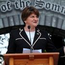 Northern Ireland First Minister Arlene Foster speaks at the opening of the Battle of the Somme Exhibition at Cavan County Museum, Ballyjamesduff, Co Cavan. Photo: Caroline Quinn