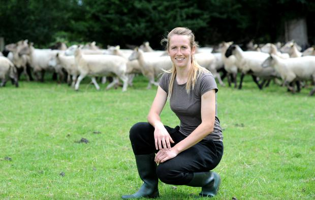 Lorraine Keena juggles dairy and sheep farming with playing football and camogie for Offaly. Photo: James Flynn