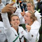 Game on: Athletes take selfies at the opening ceremony in Rio