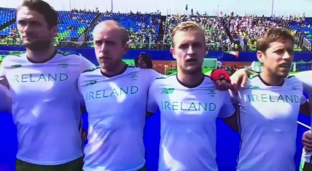 Irish hockey team sing the national anthem without musical accompaniment