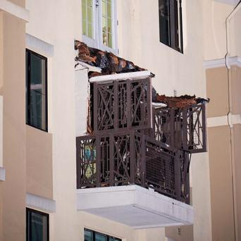 The collapsed balcony after the accident Photo: Mike Beary