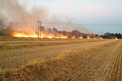 Dublin fire brigade battled a large fire at Kinsealy last night. Photo: DFB