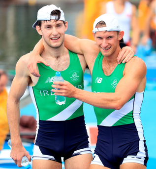 Paul and Gary O'Donovan celebrate winning silver in the Lightweight Men's Double Sculls Final in Rio. Photo: Mike Egerton/PA Wire