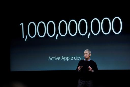 Apple CEO Tim Cook speaking at an Apple event in Cupertino, California, earlier this year. There is every likelihood a hefty EU fine will land from Brussels after the investigations into Ireland's tax treatment of the computer behemoth. Photo: Bloomberg