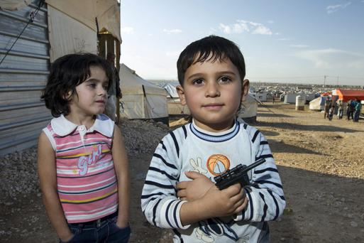 Displaced children at the Za'Atari Refugee Camp in Jordan close to the Syrian border Picture: Mark Condren