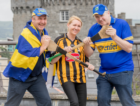 Tipperary hurling legend John Leahy (left) and John Ryan of the Pembroke Hotel (right) with solicitor Fiona Walsh on the roof of the hotel in Kilkenny Photo: Dylan Vaughan