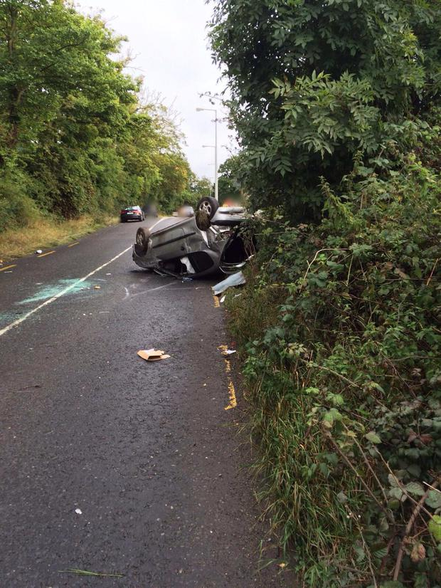 The car overturned on Holywell Link Road Photo:Dublin Fire Brigade
