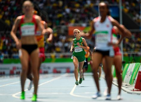 The kyte runner: Greta Streimikyte comes home in fifth place after knocking almost four seconds off her personal best Photo: Sportsfile