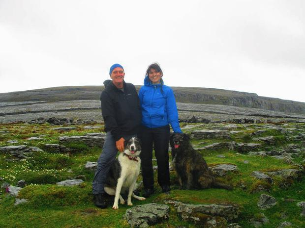 Caitríona Lucas and her husband Bernard with their dogs