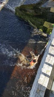 Garda Frank Stafford rescued the woman with his utility belt. Photo: Twitter @PhelanNick