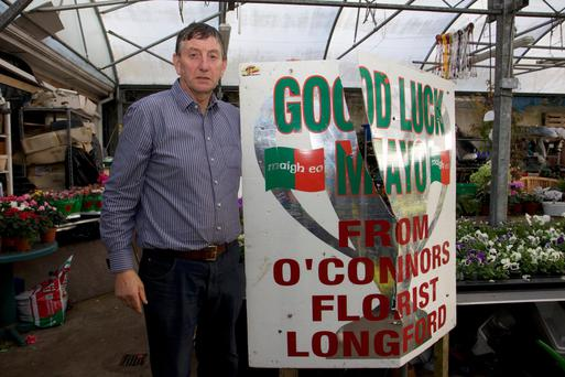 Mayo supporter hold up his sign Photo: Aisling Kiernan Twitter