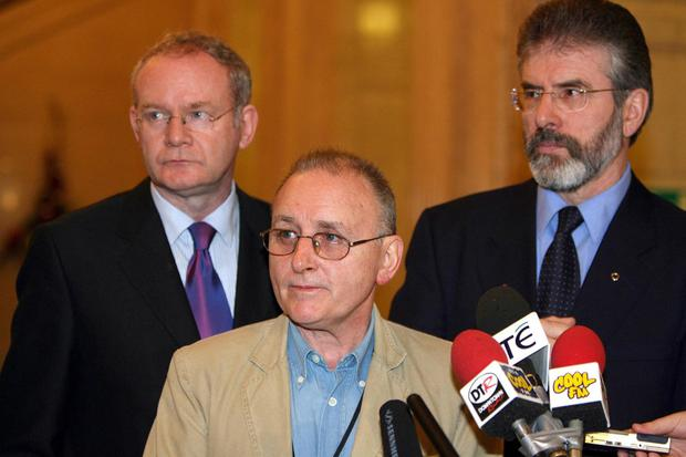 Martin McGuinness, Denis Donaldson and Gerry Adams pictured in Stormont in 2005