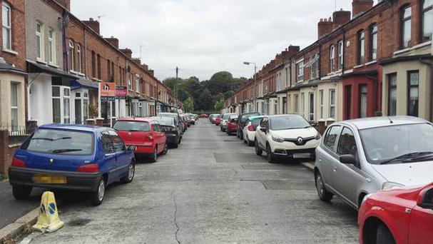 A general view of Rutland Street in Belfast, where a family have been forced to move out of their home