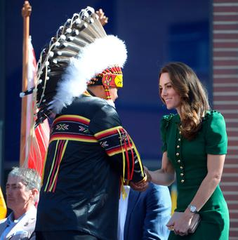 Charm: Kate meeting a native American chief this week