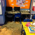 A section of the plasterboard type ceiling fell onto desks while around 25 P4 and P5 pupils were being taught on Thursday morning. Photo:PA Wire