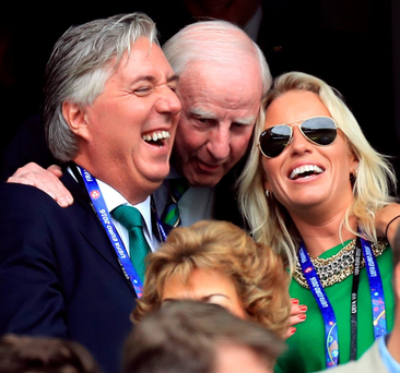 Refusal: John Delaney pictured with his partner Emma English and Pat Hickey