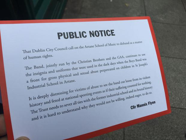 Cllr Flynn placed this notice outside City Hall