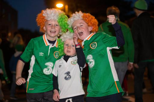 Conal (9), Aidan (5) and Senan (10) Doohan at the Ireland vs Georgia qualifier