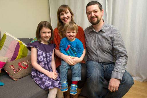 The Morgan family, Sophia (7), Ciara, Olly (19 months), and Paul, at their home in Park West, Dublin 12.