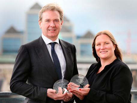 Stephen Rae, Editor In Chief INM pictured with Jane Arigho, Project Coordinator of Headline. Photo: Gerry Mooney.