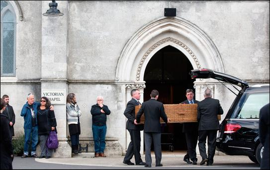 The funeral of Leo Carolan in the Victorian Chapel, Mount Jerome, Harold's. Photo: David Conachy.