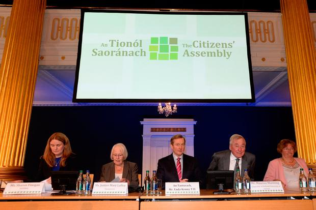 Ms Sharon Finnegan, Ms Justice Mary Laffoy, Taoiseach Enda Kenny and Mr Maurice Manning at the Citizens Assembly at Dublin Castle. Photo:Justin Farrelly.