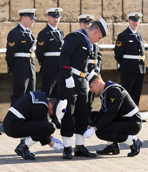 All ship-shape: Getting ready for the presentation of medals to Naval Service crews involved in the humanitarian mission, Operation Pontus Photo: Mary Browne