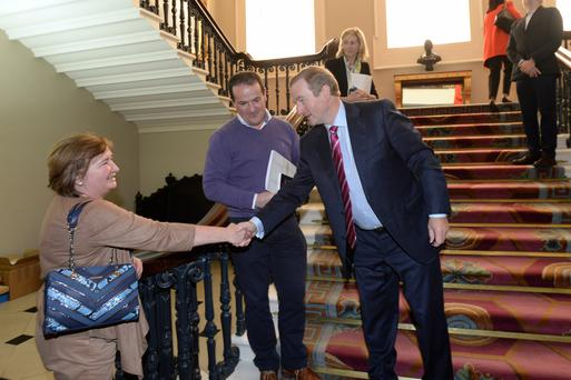 Taoiseach Enda Kenny meets Citizens' Assembly member Catherine Hayes at Dublin Castle. Photo: Justin Farrelly