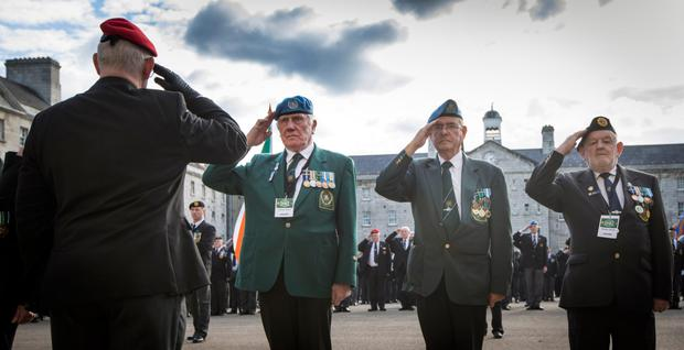 Salute to bravery: Survivors of the 1961 siege are honoured at a ceremony at Collins Barracks, Dublin Photo: Fergal Phillips
