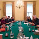British Prime Minister Theresa May (centre left) at the joint ministerial council meeting in Downing Street Picture: PA