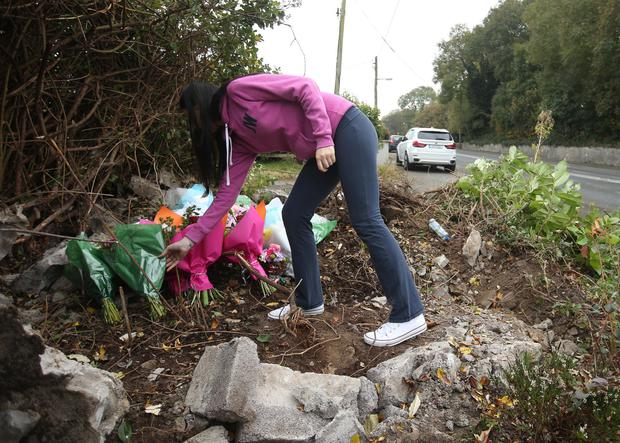 Flowers are left at the scene where Jane Dardis lost her life Picture: Damien Eagers