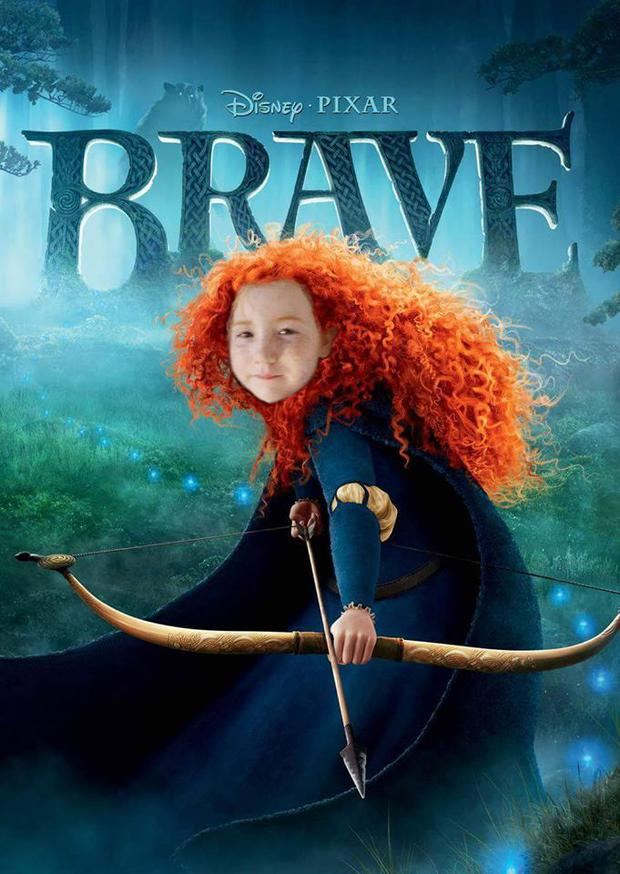 A family friend had photoshopped Kayla's face into a picture of Disney character, 'Brave'.