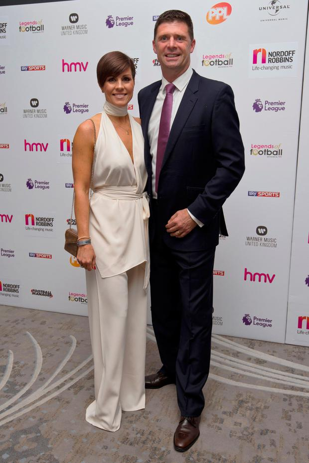 Sky pundit and former Ireland star Niall Quinn and his wife Gillian Picture: Getty