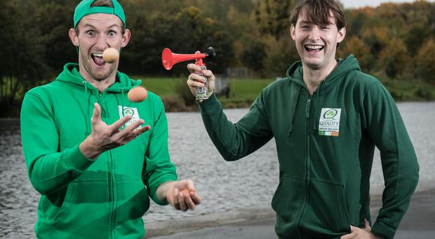 Olympic silver medallists Paul and Gary O'Donovan clowning around at the Bord Bia launch at UCD Rowing Club, Islandbridge, Dublin. Photo: Dan Sheridan