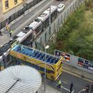 Luas and tour bus crash in Smithfield Photo: Gerry Curran
