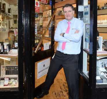 Jeweller Damien Duggan outside his store in Fairview, Dublin Photo: Justin Farrelly
