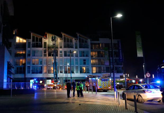 Firefighters at the scene of an apartment fire in the Station Hill Apartment Complex in Clongriffin, North Dublin this evening. Photo: Colin Keegan, Collins Dublin.