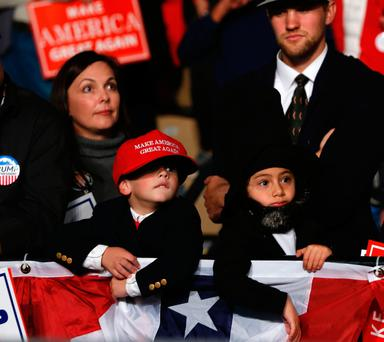 Children dressed up as Donald Trump and Abraham Lincoln at a rally in Warren, Michigan. Photo: AFP/Getty Images