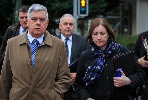 John Jacob, general secretary of the AGSI, and Antoinette Cunningham, president of the AGSI, arrive at the Labour Court on Lansdowne Road, Dublin. Photo: Gareth Chaney